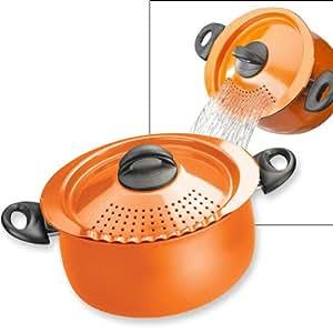 pasta pot with strainer lid 5 quart orange health personal care. Black Bedroom Furniture Sets. Home Design Ideas
