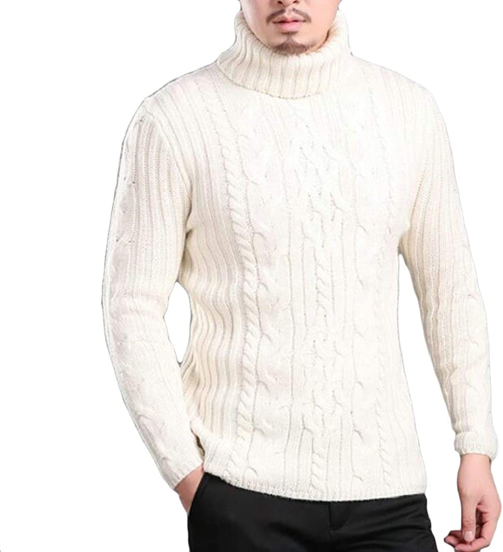 Generic Mens Warm Elastic Slim Fit High Neck Solid Knitted Pullover Sweaters