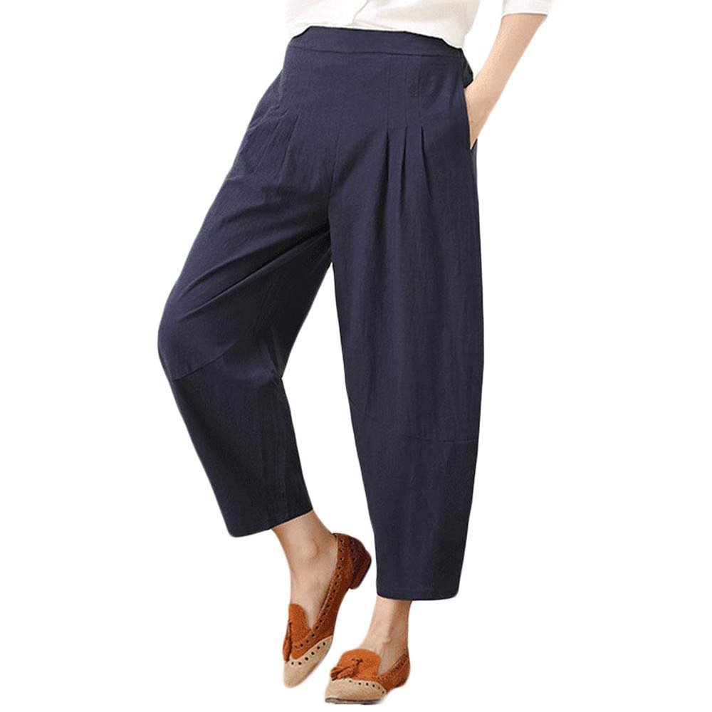 Farjing Pants Clearance Sale Womens Cotton and Linen Plus Size Pure Color Easy Haren Pants Broad Leg Pants(M,Blue