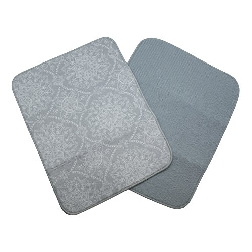2-Pack Microfiber Printed Dish Drying Mat. 100% Polyester. Ultra-absorbent. Oversized 15 x 20 Inches. Capri Collection by Home Fashion Designs Brand. (Dawn Blue Grey) by Home Fashion Designs
