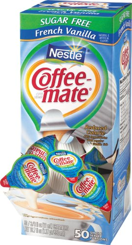 Coffee-Mate Coffee Creamer, Sugar Free French Vanilla Liquid Singles, 0.375-Ounce Creamers (Pack of 50)