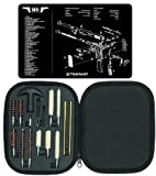 Ultimate Arms Gear Gunsmith & Armorer's Cleaning Work Bench Gun Mat 1911 + Professional Tactical Cleaning Tube Chamber Barrel Care Supplies Kit Deluxe 17 pc Handgun Pistol Cleaning Kit in Compact Molded Field Carry Case for .22 / .357 / .38 / 9mm / .44 / .45 Caliber Brushes, Swab, Slotted Tips and Patches