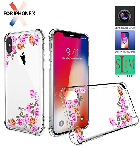 iPhone X Case,iPhone X Clear Case,iPhone X Protection Case,iPhone X Case Crystal Clear Slim Case Drop Protective Cover [Support Wireless Charging] for Apple iPhone X/10 Rose Flowers