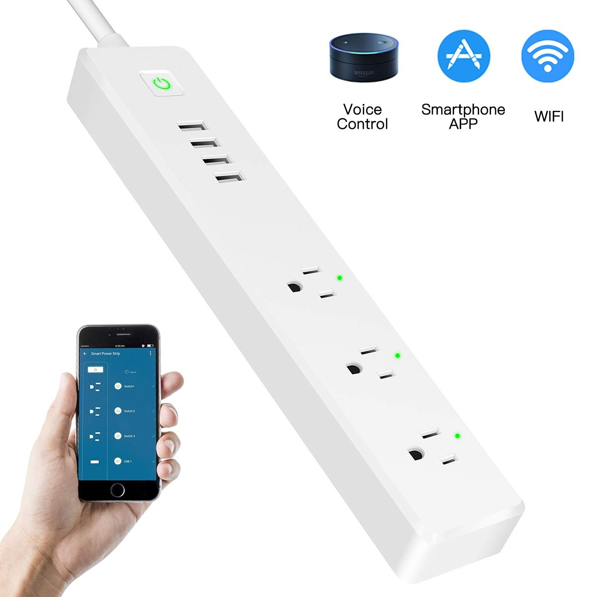 WiFi Power Strip Smart Surge Protector Compatible with Alexa/Google Home 3 AC Wireless Outlets (90-264V/15A) APP Individually Remote Control Smart Plug with Long Extension Cord No Hub Required Timer by MANZOKU