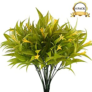 XYXCMOR Artificial Lily Flowers 4pcs UV Plants Fake Shrubs Bushes Plastic Greenery Plants Faux Indoor Outdoor Wedding Table Cemetery Vase Decor Yellow 105