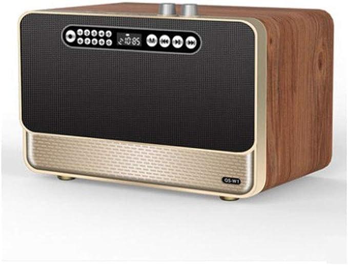 Altavoz Bluetooth Portatiles Potentes Batería De Larga Duración Altavoces Duales De Calidad De Sonido HiFi De Madera Bluetooth Speaker Outdoor Conexión De Disco AUX/TF/U,Oro: Amazon.es: Jardín