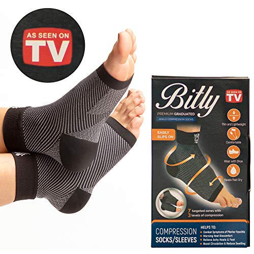 Bitly Plantar Fasciitis Foot, Ankle Brace & Compression Sleeve for achilles tendon support, can be used as ankle brace for men and women, wrap or support sleeve. As Seen On TV Products 2018 (Cuff Accessory Boot Black)
