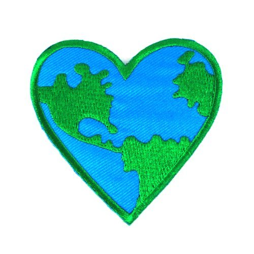 Love Earth, Heart Logo Iron on Patches (Earth Planet Patches)