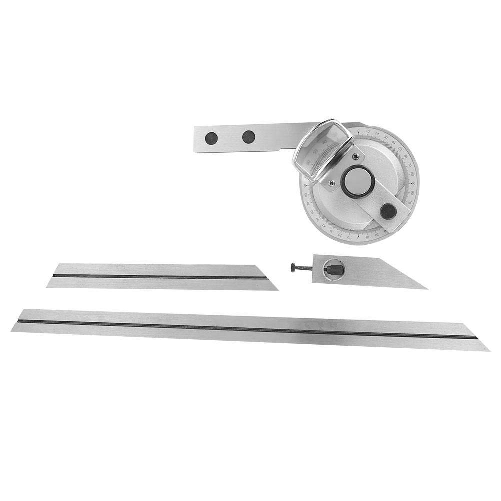 360 Degreel Universal Steel Bevel Protractor Bevel Protractor Precision Angle Finder Measuring Ruler with W//Magnifying Glass for Internal And External Angle Measurement