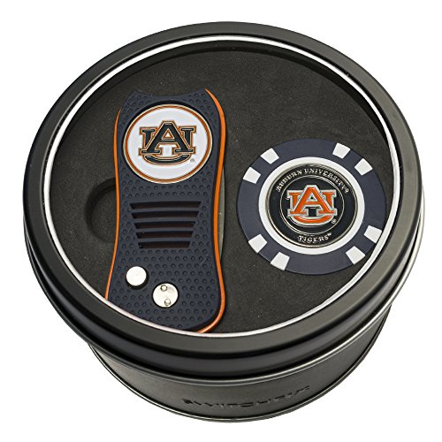 Team Golf NCAA Auburn University Tigers Gift Set Switchblade Divot Tool & Chip, Includes 2 Double-Sided Enamel Ball Markers, Patented Design, Less Damage to Greens, Switchblade Mechanism (Auburn Divot Tool)