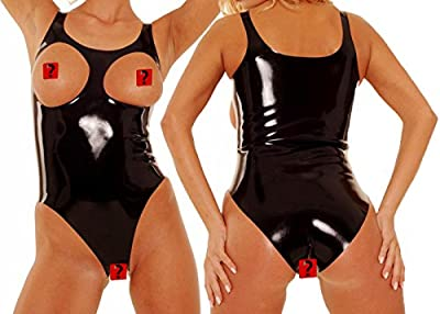 ECOSPLAY Women's Latex Rubber Sexy Cupless Bodysuits with Open Crotch Fetish