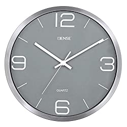 HENSE 12-Inch Modern Home Kitchen / Living Room / Office Round Wall Clock, Silent Non-ticking Sweep Second Clocks with Metal Frame and Front Glass Cover HW56 (Silver Frame with grey dial)
