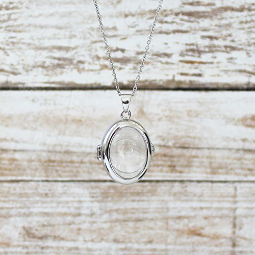 Sterling Silver-Glass-Custom Photo Locket Necklace-36-inch chain-The Ginny by With You Lockets by With You Lockets (Image #5)