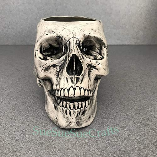 Skull, Halloween planter, Creepy Head, Bowl, Makeup brush holder FREE SHIPPING