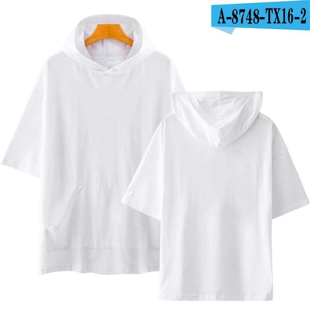NSJIB Mens Hooded Sweatshirt Solid Color Summer Short Sleeve Hip Hop Cool