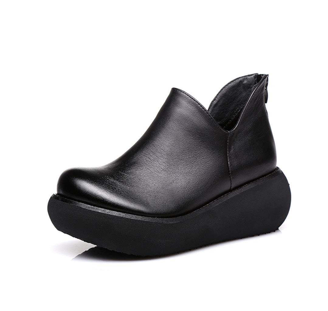 HRN Frauen Schuhe Leder Plattform Wedges Muffin Boden einzelne Schuhe Set Füße nationalen Stil Kurze Stiefel Retro