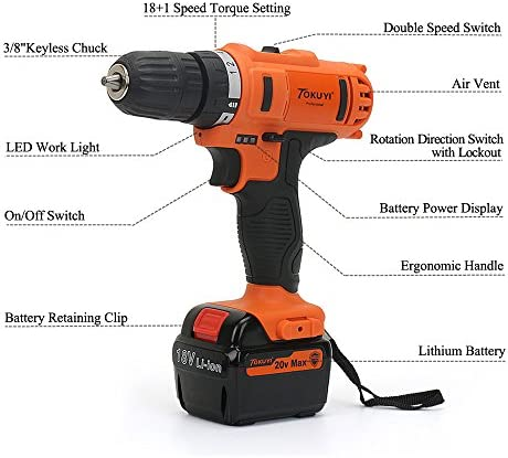 Tokuyi 18V Cordless Drill Driver Kit Max Torque 32Nm, 18 1 Position, 3 8 Keylesss Chuck, 2-Variable Speed, 1.5Ah Li-ion Battey with LED Worklight, 1 Hour Fast Charger