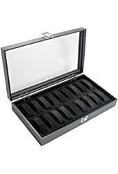 18pc Black Watch Travel Tray Showcase Display Case Unit W/ Plexi plastic Top