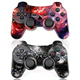 CHENGDAO PS3 Controller Wireless 2 Pack Double Shock Gamepad for Playstation 3 Remote,Sixaxis Wireless PS3 Controller with Charging Cable (Skull + Galaxy)