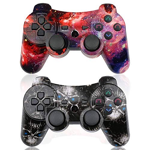 CHENGDAO PS3 Controller Wireless 2 Pack Double Shock Gamepad for Playstation 3 Remote,Sixaxis Wireless PS3 Controller with Charging Cable (Skull + Galaxy) (Six Button Ps3 Controller)