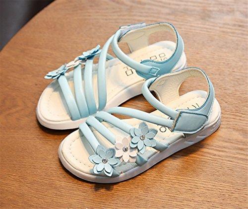YOGLY Mädchen Böhmen RömerSandalen Blumen Klettverschluss Prinzessin Schuhe Flip Weich Sandalen Baby Flat Badeschuhe Flip Flops Outdoor Geschlossen Beige