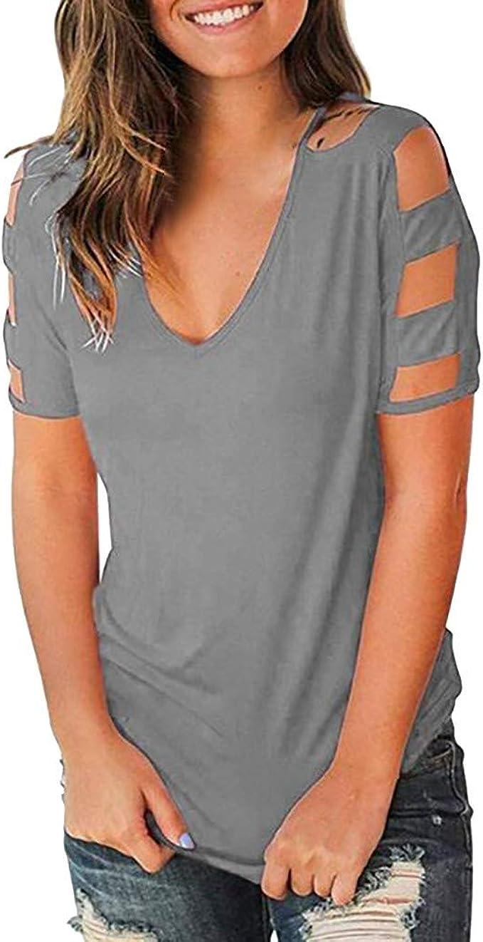 onlypuff Womens Summer V-Neck Shirt Cold Shoulder Short Sleeve Tops