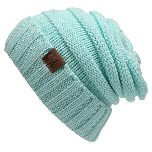 Winter Hats Women Cap Crochet Knit Thermal Slouchy Beanie Hat / Light Blue