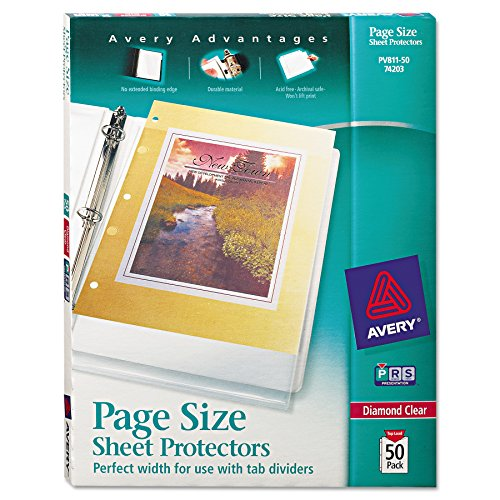 Avery 74203 Top-Load Poly 3-Hole Punched Sheet Protectors, Letter, Diamond Clear (Box of 50)