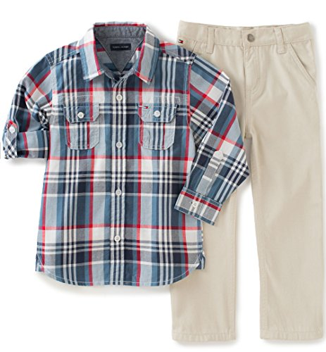 Tommy Hilfiger Little Boys' Roll up Sleeves Shirt With Twill Pants Set-Two Pockets, Blue, 4 (Tommy Hilfiger Boy 4)
