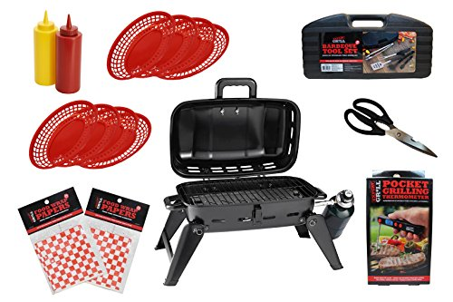 Expert Grill Barbecue Tabletop Gas Grill and Tools Set - 70 Items