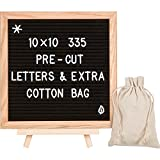 Letter Board With Pre-Cut Characters: 10 x 10 Oak Wood Frame and Felt Backing, Preassembled Message Sign With 335 Changeable Letters, Numbers and Symbols, Stand, Wall Mount and 2 Canvas Storing Bags