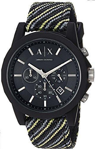 Armani Exchange Men's Black and Yellow Fabric Watch AX1334