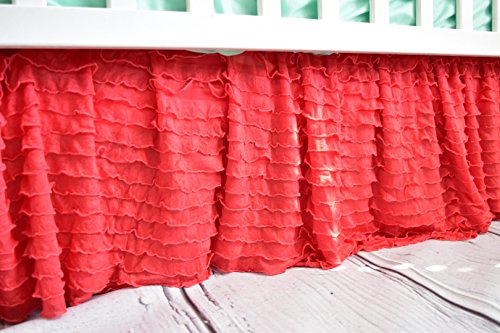 Coral Ruffled Crib Skirts - Extra Long Dust Ruffle 3 Sided Baby Bedskirt for Girl Nursery Beddin Ruffled Crib Skirts - Extra Long Dust Ruffle 3 Sided Baby Bedskirt for Girl Nursery Bedding from A Vision to Remember