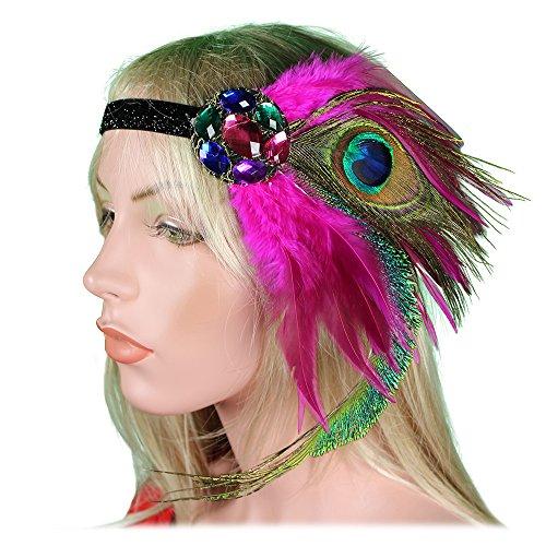 Fuchsia Flapper Dress (1920s Flapper Headband 20s 30s Great Gatsby Headpiece Peacock Fuchsia Pink Feather Blue Green Rhinestones Crystals Gatsby Headdress)