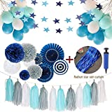 Wedding Party Decorations White and Blue Party Decorations Including White Grey and Navy Blue Tissue Paper Tassel Paper Fans Balloons for Birthday Window Curtain Party Decoration Kit