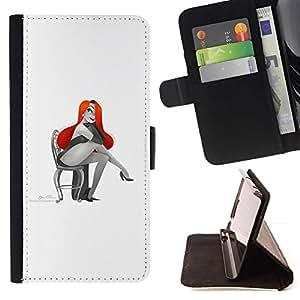 Momo Phone Case / Flip Funda de Cuero Case Cover - Mujer atractiva roja atractiva del pelo del dibujo del arte - LG G3