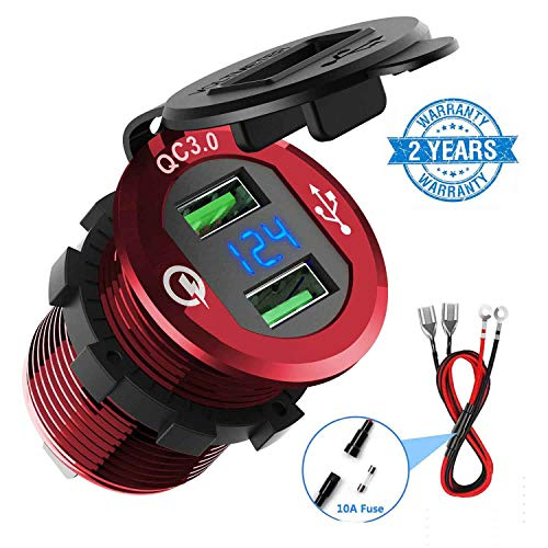 Quick Charge 3.0 Car Charger, CHGeek 12V/24V 36W Aluminum Waterproof Dual QC3.0 USB Fast Charger Socket Power Outlet with LED Digital Voltmeter for Marine, Boat, Motorcycle, Truck, Golf Cart and ()