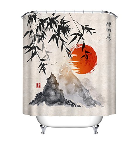 LB Ancient Japanese Chinese Ink Painting Bamboo Mountain Sunset Shower Curtain for Bathroom, Oriental Bath Curtain, Water Resistant Healthy Fabric Decor Curtain, 59 W x 70 L