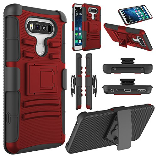 LG V20 Case, LG V20 Holster Case,ELEGANT CHOISE Heavy Duty Dual Layer Full Body Protective Kickstand Case Cover with Belt Clip Holster Case for LG V20 (Red/Black)