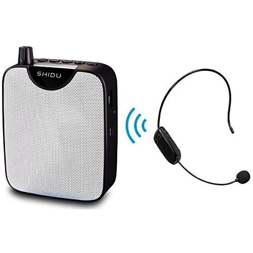 Wireless Portable Voice Amplifier, SHIDU Rechargeable Mini PA System with UHF Bluetooth Headset Microphone,Recording Function, U Disk/TF for Guide, Teaching, Coaching, Presentations