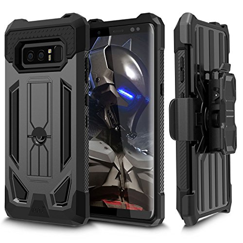 Note 8 Case, Galaxy Note 8 Case, WWW [Heavy Duty] Full-Body Protective Case [Shock Absorption] Rugged Holster Cover with 360° rotating Back Splint and Kickstand for Samsung Galaxy Note 8 Black