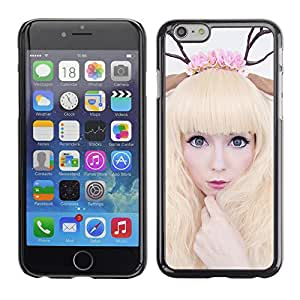 Qstar Arte & diseño plástico duro Fundas Cover Cubre Hard Case Cover para Apple (5.5 inches !!!) iPhone 6 Plus ( Horns Art Deer Woman Blonde Fairy White)