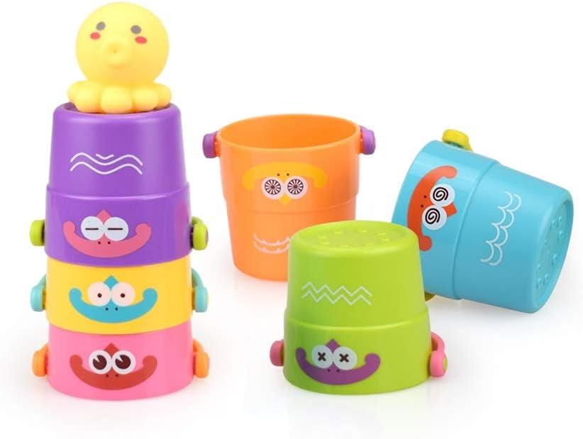 Pkjskh Niños Jenga Rainbow Circle Stack Cup Niños Niños Playa Juguetes acuáticos Planta en maceta Juguete Personalidad creativa Juguetes educativos multiusos 6 cubos apilados y 1 pulpo Rompecabezas di: Amazon.es: Productos para