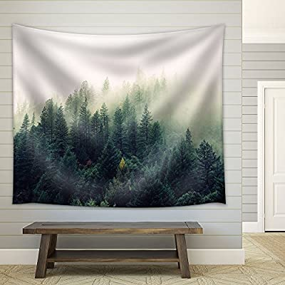 Landscape with Trees in Mist - Fabric Wall Tapestry Home Decor - 68x80 inches