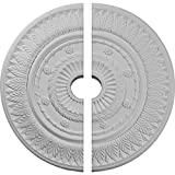 Ekena Millwork CM26LF2 26 3/4'' OD ID x 1 1/8'' P Leaf Ceiling Medallion, Two Piece (Fits Canopies up to 3 5/8''), Factory Primed White