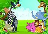 Qian Jungle Safari Photography Backdrops Animals Photo Background Studio Props For Children Kids Party Vinyl 7x5ft