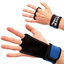 Leather Hand Grips with wrist support for Cross Fitness WODs, Pull Ups, Kettlebell workout, Barbell Training, Weightlifting, Velcro Wrist Support, Calluses Protect, For Men and Women