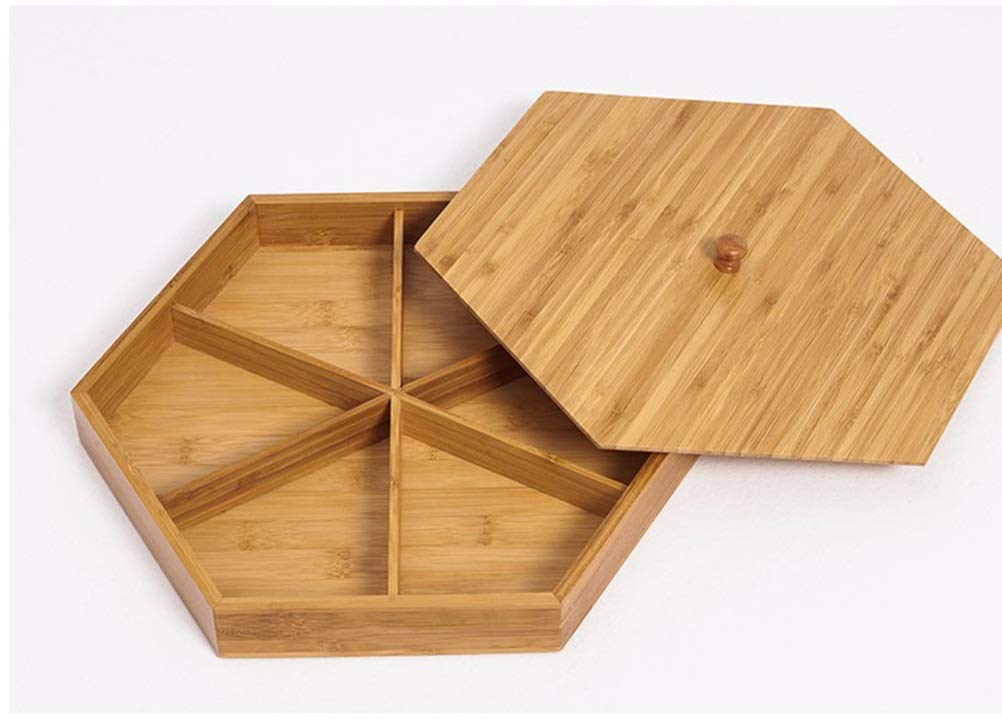 Sw.eet Bamboo Wood Dried Fruit Plate Compartment With Lid Snack Nut Tray Melon Snacks Candy Storage Box -Fruit bowl