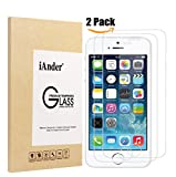 iPhone SE Screen Protector, iAnder iPhone 5S Tempered Glass Screen Protector for Apple iPhone SE, iPhone 5S 5C 5 (2-Pack)