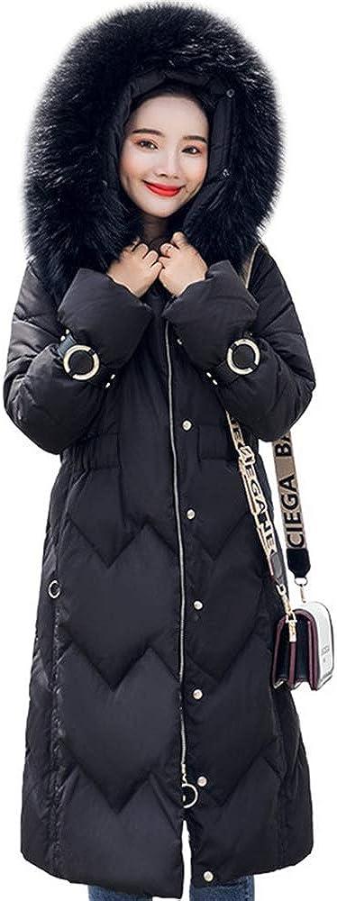 LQYRF Winter Ladies Slim Long and Medium Detachable Fur Collar Hooded Down Jacket
